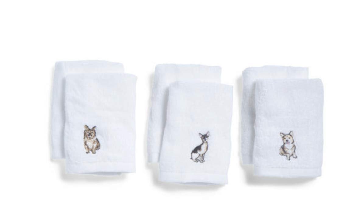 Casaba Dog Print Embroidered WashCloth Towels Set of 6 on White Cotton