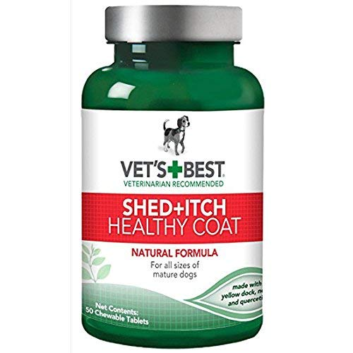 Vet's Best Healthy Coat Shed plus Itch Natural Dog Food Supplement, 50 Tablets