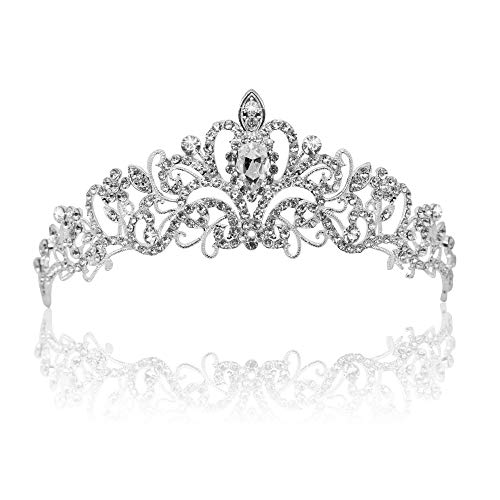 Vinsco Crystal Tiara Crown Headband Headpiece Rhinestone Hair Jewelry Decor for Women Ladies Little Girls Bridal Bride Princess Birthday Wedding Pageant Prom Party with Pin Holes Sliver(Style -