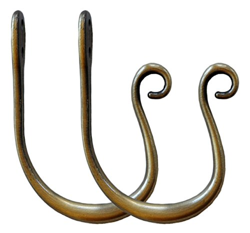 Holdbacks Brass (Urbanest Set of 2 Zinc Curl Drapery Holdbacks, Antique Brass)