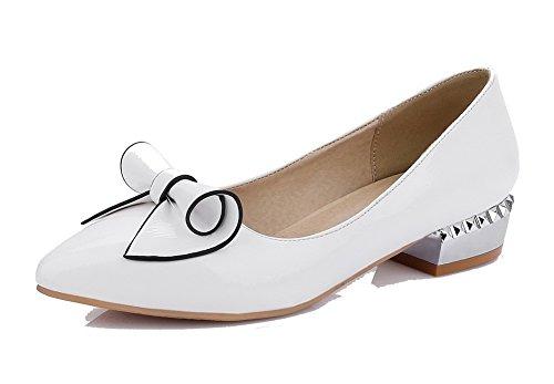 AgooLar Damen Ziehen auf Niedriger Absatz PU Rein Spitz Zehe Pumps Schuhe Weiß
