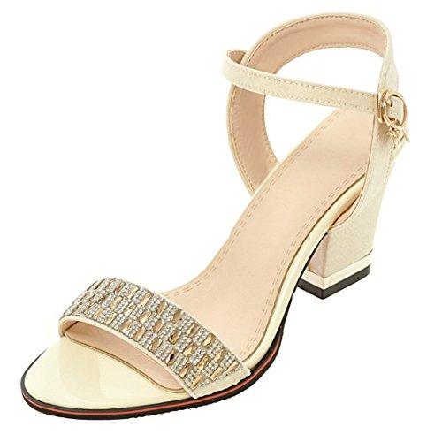 AIYOUMEI Damen Offen Knöchelriemchen Sandalen mit Strass und 7cm Absatz Blockabsatz Bequem Elegant Schuhe Beige
