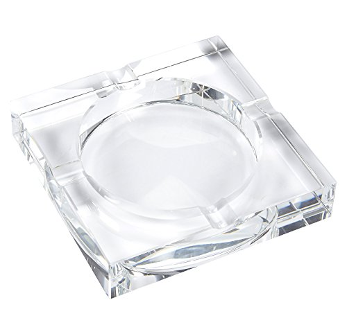 Crystal Cigar Box (Ashtray - Cigar Ashtray Square Crystal Tabletop Ash Tray With 4 Slots - For Indoor and Outdoor Use, Includes Gift Box - 7.1 x 1.46 x 7.1 Inches)