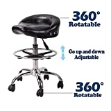 Adjustable Rolling Swivel Stool Hydraulic Saddle Medical Chair with Steel Chrome Frame and Wheels for Salon Tattoo Spa Massage (Shiny Black)