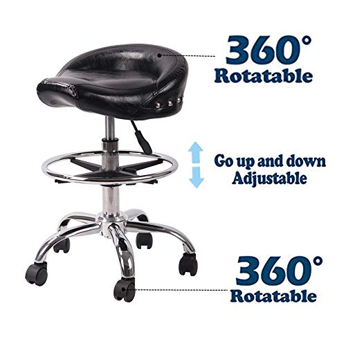 (Adjustable Rolling Swivel Stool Hydraulic Saddle Medical Chair with Steel Chrome Frame and Wheels for Salon Tattoo Spa Massage (Shiny Black))
