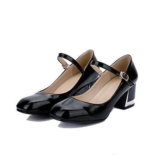 VogueZone009 Damen Rein Lackleder Mittler Absatz Schnalle Quadratisch Zehe Pumps Schuhe Schwarz