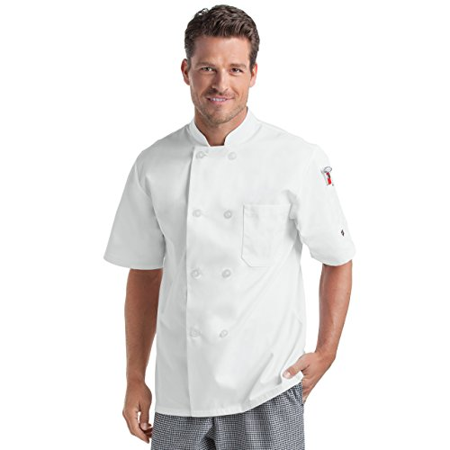 Double Breasted A-line Coat - On The Line Unisex Short Sleeve Chef Coat/Double Breasted/Plastic Button Reversible Front Closure (S-2X, 2 Colors) (Large, White)