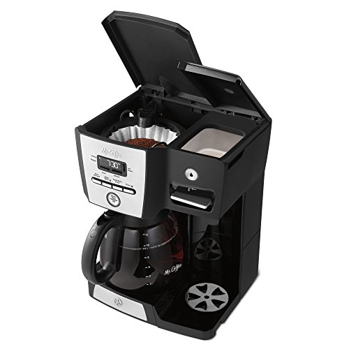 Mr. Coffee Versatile Brew 12-Cup Programmable Coffee Maker with 16 Oz. Hot Water Dispenser, Black/Chrome