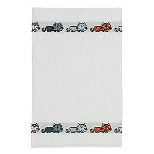 Feiler Cats Border Terry Towel - White
