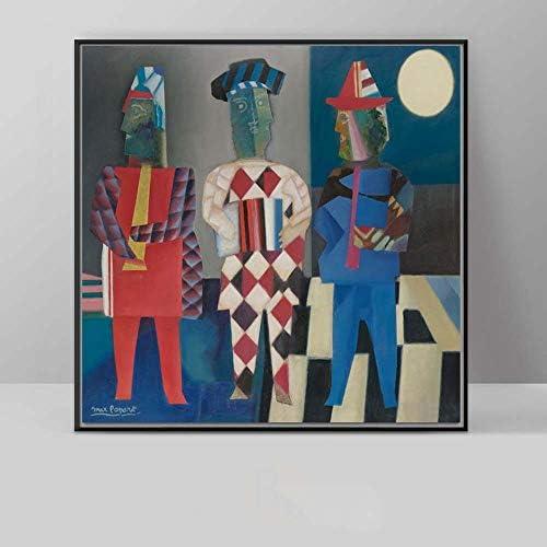 KAAK 抽象3つの男性のアールデコ絵画リビングルームの壁画ポーチヨーロッパとアメリカスタイルの研究寝室現代のミニマリストの壁画30 X 30 Cm、40 * 40 Cm、50 * 50 Cm 壁画 (Size : 40*40cm)