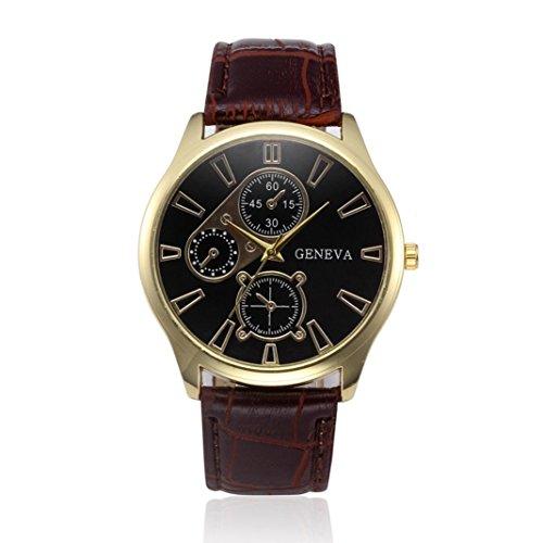 Big Sale ! Auwer Mens Quartz Wristwatch, Retro Design Leather Band Analog Alloy Quartz Wrist Watch PU Leather Band Clock (D)