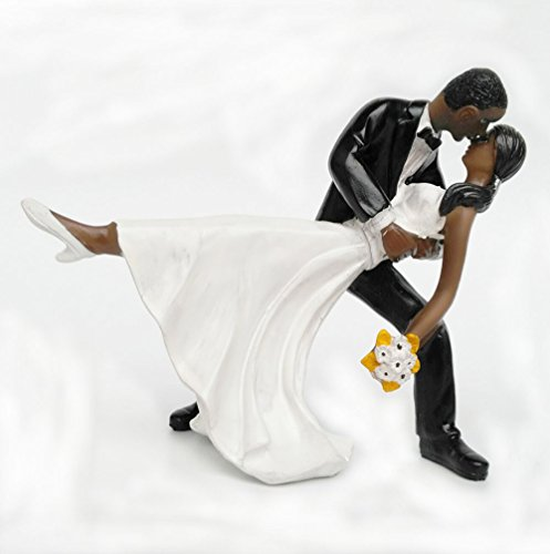 Homanda Black A Romantic Dip Dancing Bride and Groom Couple Figurine Wedding Decoration Cake Topper