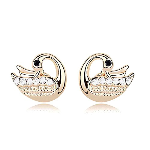 Gold Crystal Diamond Accent Swan Earrings Studs Set for W...