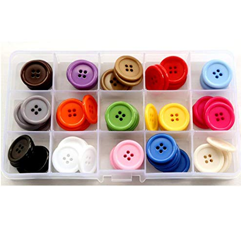GANSSIA 15 Colors 7/8 Inch Buttons 22.5mm Sewing Button Multi Colored Pack of 105 with Box (Each Color 7 Pcs)