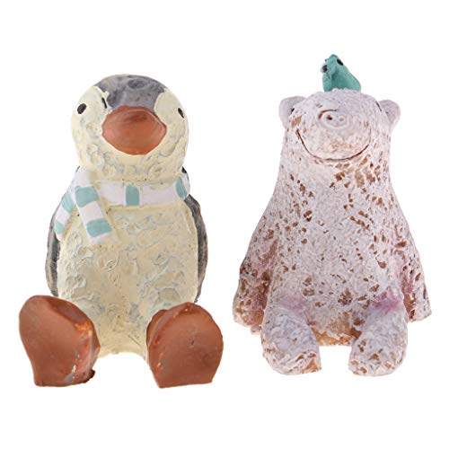 Flameer Miniature Animal Figurines, Penguin + Polar Bear, Resin Craftwork for 1/12 Dollhouse, Christmas Birthday Gift Desk Ornaments from Flameer