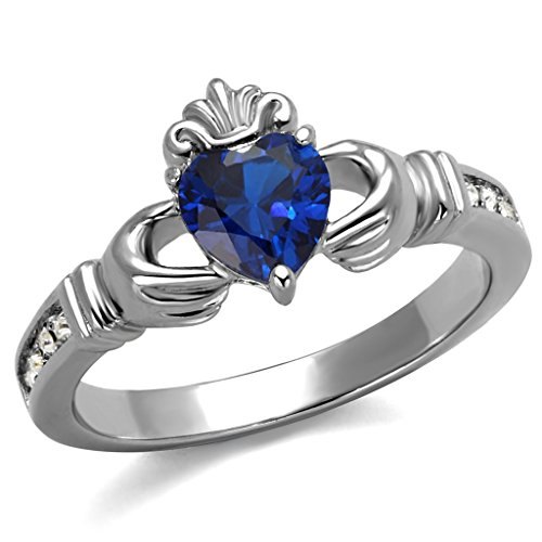 Womens Stainless Steel Sapphire Blue Synthetic Spinel Stone Claddagh Ring,Size:8