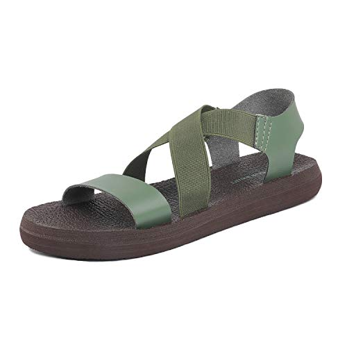 DREAM PAIRS Women's Open Toe Elastic Flat Sandals Size 5 M US Green ()