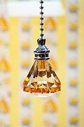 2 of Gorgeous Amber Acrylic Crystal Diamond Ceiling Lighting Fan Pulls