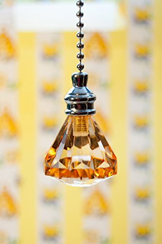 Acrylic Pull Chain - 2 of Gorgeous Amber Acrylic Crystal Diamond Ceiling Lighting Fan Pulls