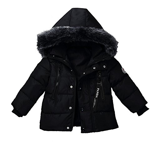 Windproof Warm Jacket Coat Boys For Outdoor Winter Winter Down Girls Coat Foyeria Black Puffer Baby EwBzqPO