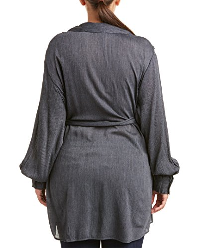 Melissa McCarthy Seven7 Women's Plus Size Belted Button Tunic, Evening Blue, 2X