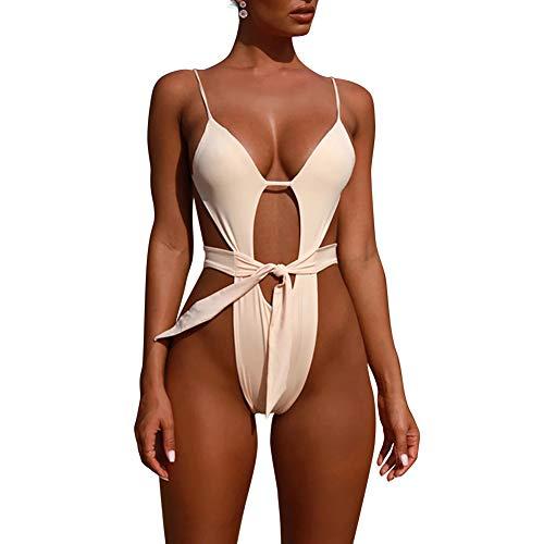 (Women Spaghetti Straps Plunge V Neck Padded Swimsuit Padded Backless Bikini S White)