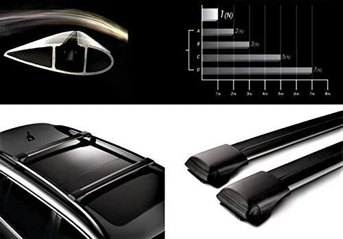 Lockable AeroWingBar Aerodynamic Aluminium Cross Bars Roof Racks for BMW 5 E61 Estate 2004-2010 / Black Anodised