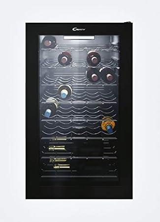 Candy CWC 150 EM/N, Bodega para vino, Capacidad 41 botellas, Luces LED, Baldas cromadas, Tratamiento anti UV, Puerta reversible, 39 dBA, Negro[Clase de eficiencia energética G]