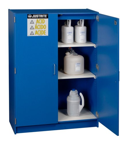 Justrite Manufacturing Company LLC 24150 - Acid & Corrosives Safety Cabinet, Blue, Tower Style, 2, 2 Shelves, 60 x 42 x 17-7/8