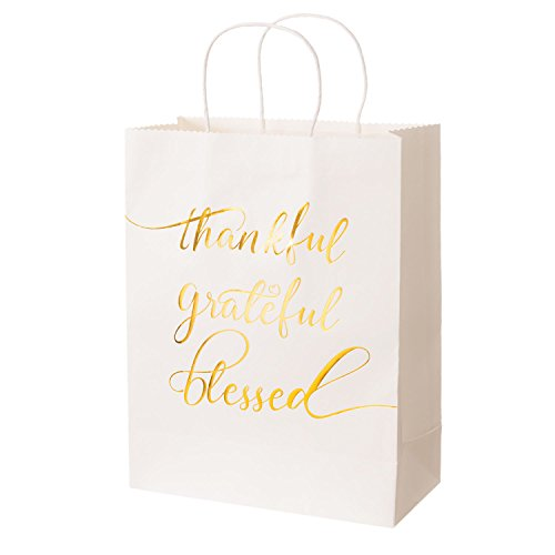 Embossed Favor Bags (Ling's moment Thank You Bags Set of 12 White Gold Embossed