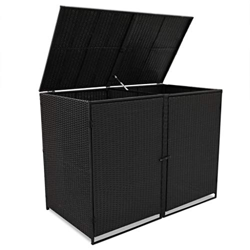 Outdoor Double Wheelie Storage Shed for Garbage, Garden Tools, Fire Wood, Bin Shed Poly Rattan Black 58.3″x31.5″x43.7″
