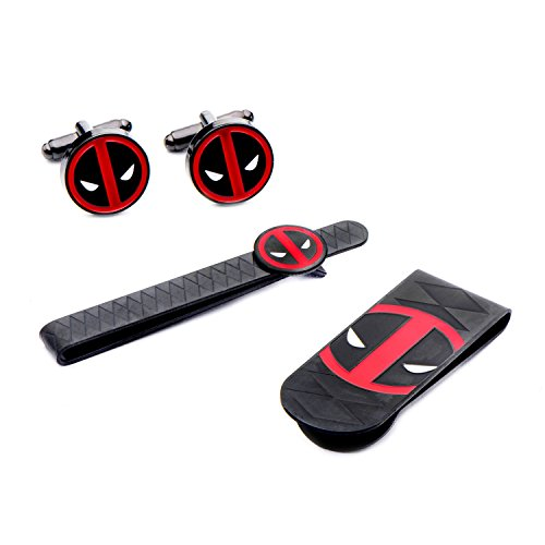 Marvel Men's Stainless Steel Black Pvd Plated Deadpool Money Clip, Tie Bar & Cuff Links Set