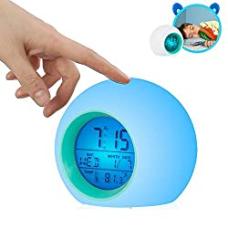 TKSTAR Alarm Clock with Nature Sounds 7 Light Colors for Kids Girls Heavy Sleeper Battery Operated Wake Up Light with Temperature