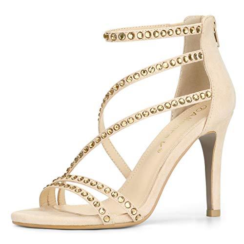 793433c65a6b Allegra K Women s Rhinestone Stiletto Heel Strappy Ankle Strap Sandals
