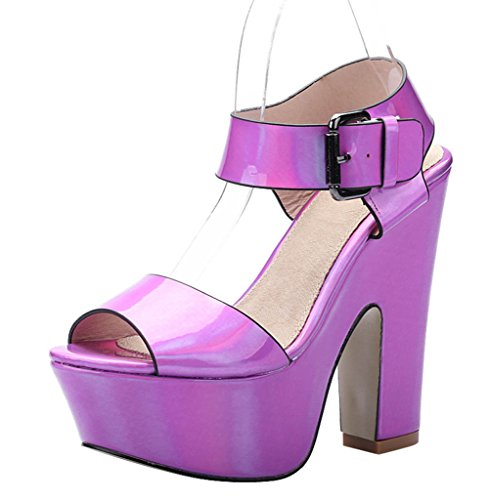 Sexy patent pu Block Fashion Women's Comfort Strap Toe Sandal Open Ankle purple Platform SgnUqw