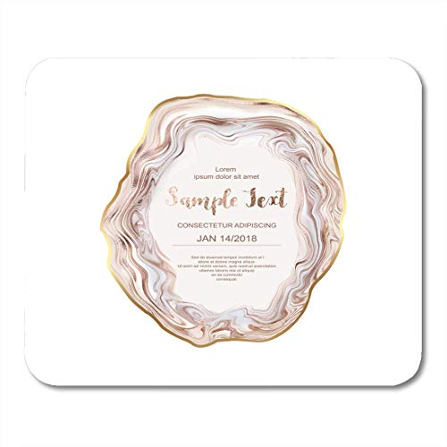 HZMJPAD Glitter Pink Wedding Agate Slice Gemstone with Gold Border Stone Pearl Mouse Pad 8.6 X 7.1 in
