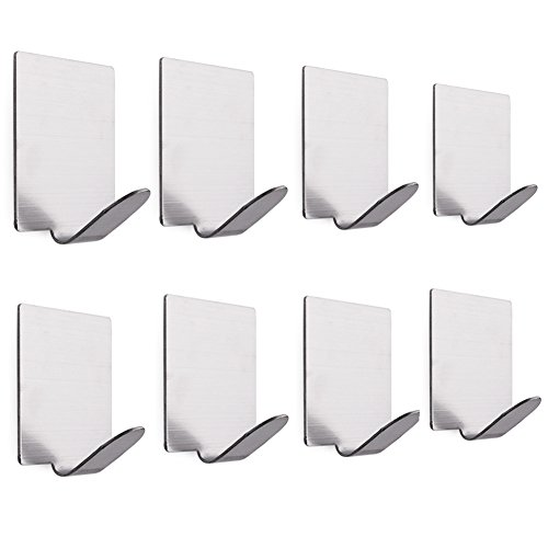 8 Pcs Heavy Duty 3M Adhesive Towel Hooks Wall Hangers, Bathroom Robe Coat Hat Door Key Racks, Waterproof Brushed Stainless Steel