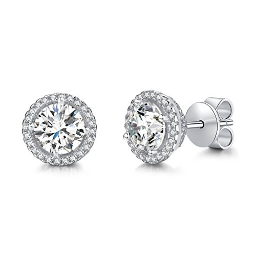 (Rhodium Plated Sterling Silver Round Solitaire Cubic Zirconia CZ Halo Stud Earrings