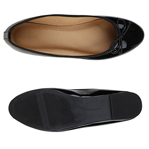 Stiefelparadies Damen Ballerina Schuhe Klassische Ballerinas Lack Glitzer Slipper Flats Velours Metallic Schuhe Leder-Optik Slip Ons Übergößen Flandell Schwarz Black Lack
