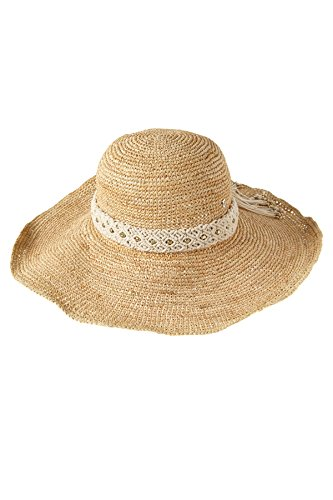 Florabella Women's Audie Lux Wide Brim Sun Hat Natural One by Flora Bella
