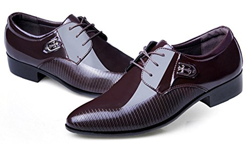 HYLM Los zapatos de cuero ocasionales del negocio de los nuevos hombres de señalaron el cordón / los zapatos de boda de los zapatos de vestido del tamaño grande Dark Brown