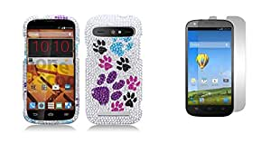 ZTE Warp Sync N9515 (Boost Mobile) - Color Dog Paws Rhinestone Diamond Bling Cover Case + Atom LED Keychain Light + Screen Protector Guard