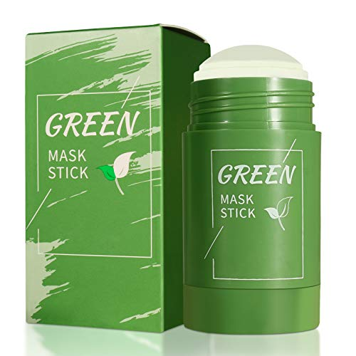 Green Mask Stick, Green Tea Purifying Clay Stick Mask, Moisturizes Oil Control, Deep Cleansing Smearing Clay Mask, Deep Clean Pore, Moisturizing Nourishing Skin, for All Skin Types Men Women