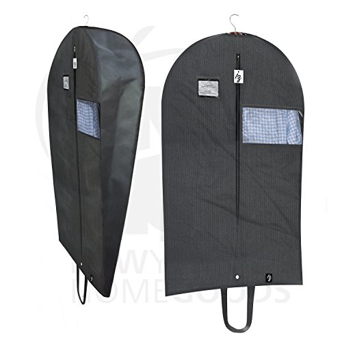 TOP QUALITY Breathable 42 Inch Garment Bag, Lightweight, Easy Carrying Shoulder Straps, Window For Viewing, PVC Card Holder, Builtin Anti-Moth Protector, Water Res, #5 Zipper [Updated Version]