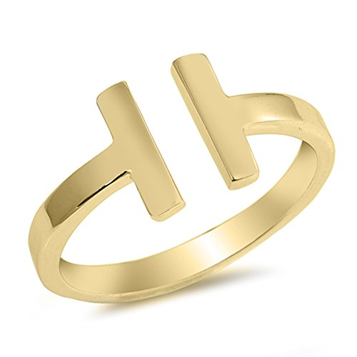 Gold-Tone Open Bar Gap Modern Stackable Ring 925 Sterling Silver Band Size 6