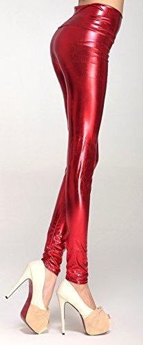 Glanz Stetch Leggings Legging mit Hohem Bund in 6 Farben zur Auswahl Gr ca 34-40 von bunny-shop (rot)