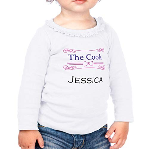 Price comparison product image Personalized Custom Profession The Cook Jessica Cotton Taped Neck Girl Toddler Long Sleeve Ruffle Shirt Top Sunflower - White,  24 Months