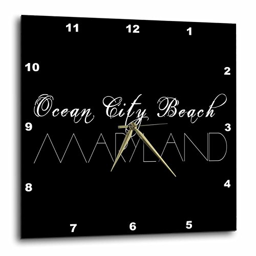 3dRose Alexis Design - American Beaches - American Beaches - Ocean City Beach, Maryland white on black - 10x10 Wall Clock - Maryland Ocean City Outlets