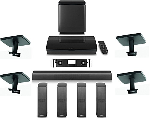 Bose Lifestyle 650 Home Entertainment System with Ceiling Brackets (1 OmniJewel Center Channel Wall Bracket & 4 OmniJewel Ceiling Brackets) – Black