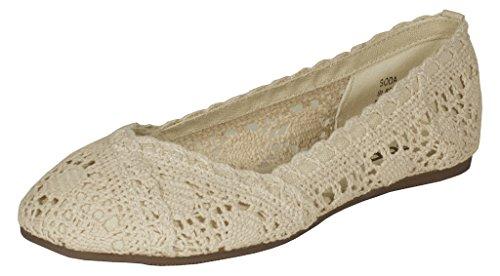 Lustacious Kid's Girly Round Toe Crochet Slip On Casual Flat